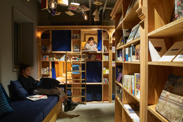 Read until you fall asleep at this book-themed hostel in Japan.