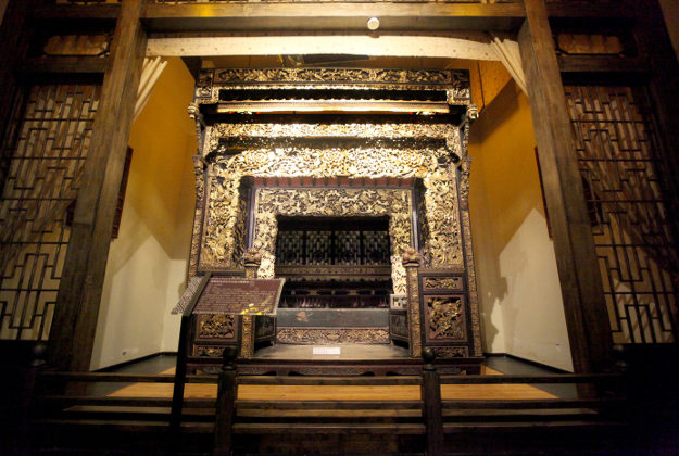 Luxury antique bed on display at the Bayu Ancient Bed Museum in Yubei district, Chongqing, China.