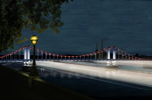 """The """"Thames Nocturne"""" design forms a ribbon of light connecting Chelsea to Wapping. Light itself is used as a medium to create weaves of light forming a volume in space."""