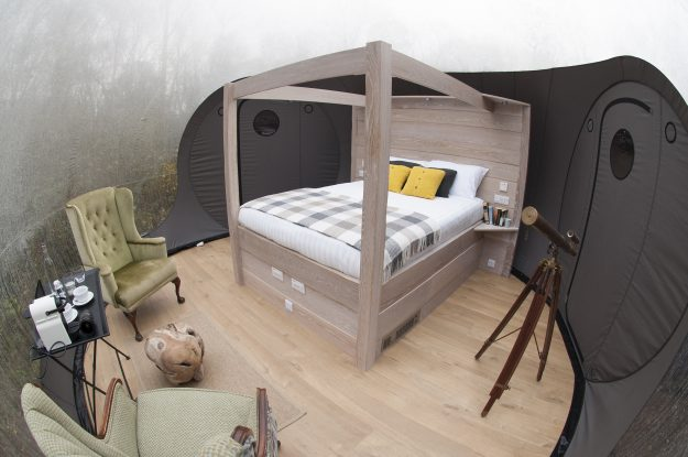 The domes feature bespoke four poster beds, offering a taste of luxury amongst nature.