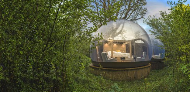 The 180 degree domes have uninterrupted views of the surrounding Muckross woods.
