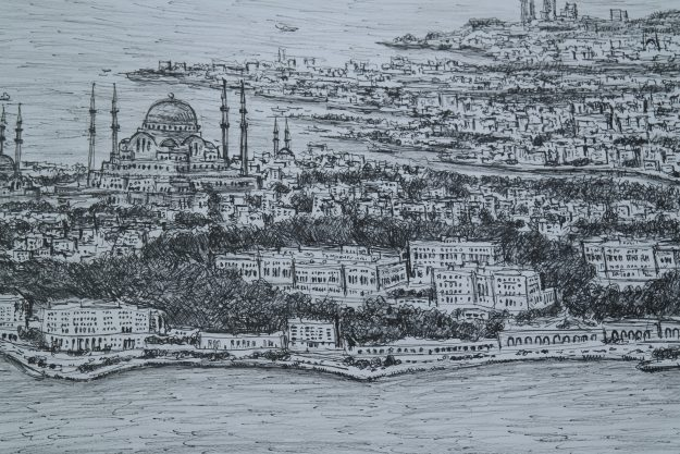 A close up view of Istanbul drawn by Stephen after having only observed the city by helicopter.