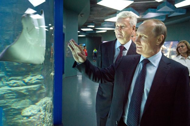 Russia's President Vladimir Putin and Moscow Mayor Sergei Sobyanin visit the Moskvarium Oceanography and Marine Biology Center at Moscow's VDNKh Exhibition Center.