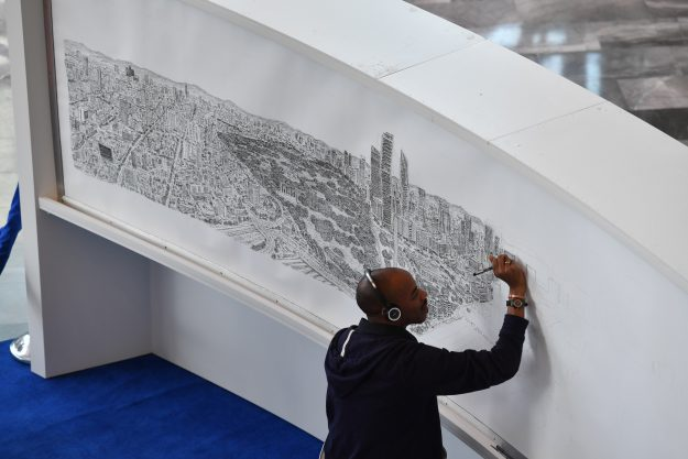 The impressive large scale drawings are created entirely from memory, often after the artist has only glimpses the city scape for a short time.