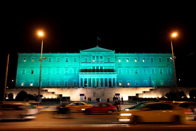 The Greek Parliament joined in on the historic event by also going green for the night.