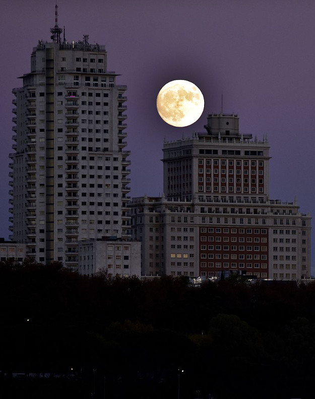 The moon rises behind the España building in Madrid, on November 13, 2016, on the eve of a 'supermoon'. On November 14, 2016, the moon will orbit closer to the earth than at any time since 1948, named a 'supermoon', it is defined by a Full or New moon coinciding with the moon's closest approach to the Earth.