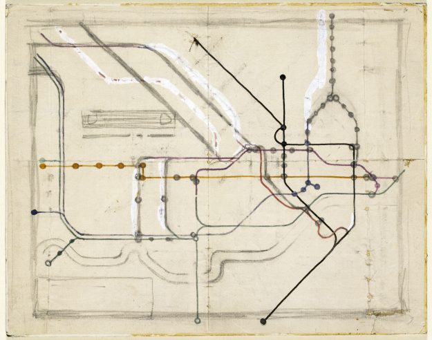 An early tube map. map exhibition