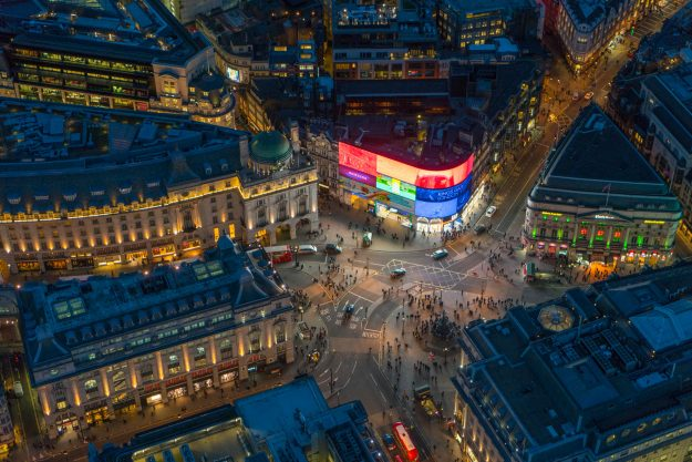 Night aerial view of Piccadilly Circus.