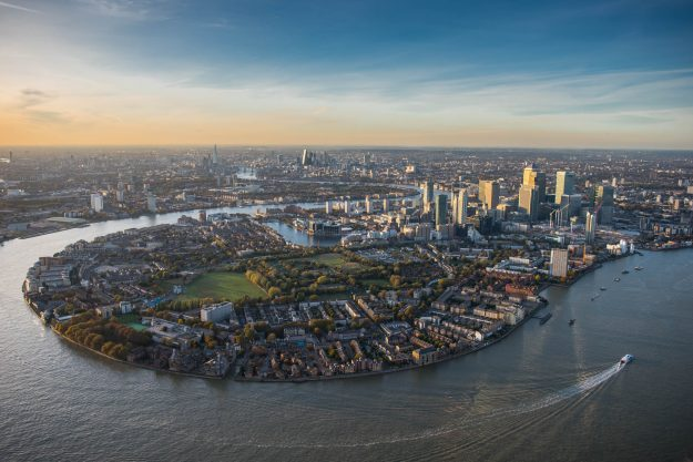 Isle of Dogs, Canary Wharf, London aerial view.
