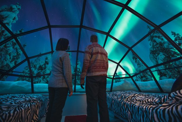 Glass igloos offer stunning views of the Northern Lights.