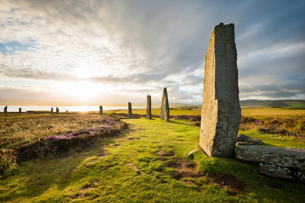 Stone circle 'Ring Of Brodgar' at sunrise in Scotland.