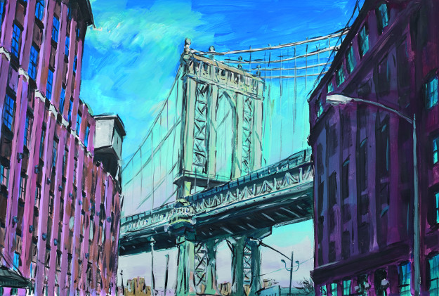 Manhattan Bridge, Downtown New York, 2015–2016. Watercolour on paper, 89.2 x 121.3 cm.