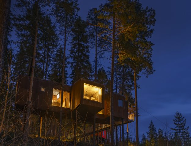 The Dragonfly cabin lit up at night.