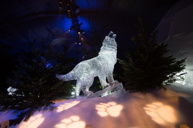 An ice wolf sculpture is part of this year's display at Hyde Park.