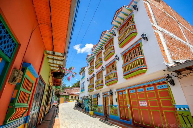 Brightly painted balconies and doors line the town.
