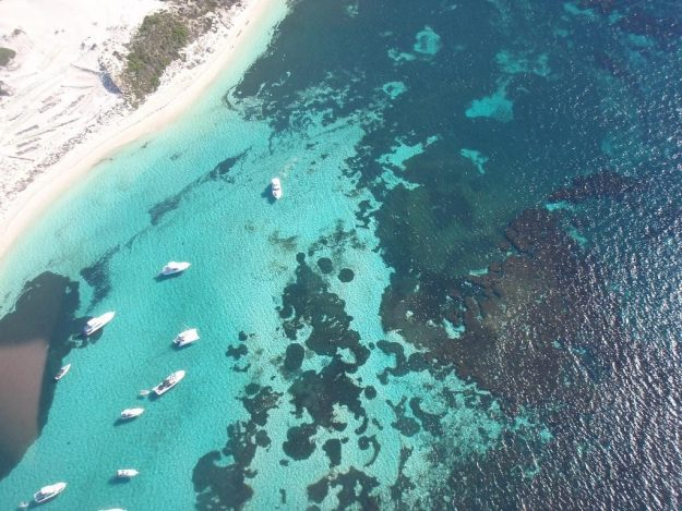 An aerial view of Rottnest Island.