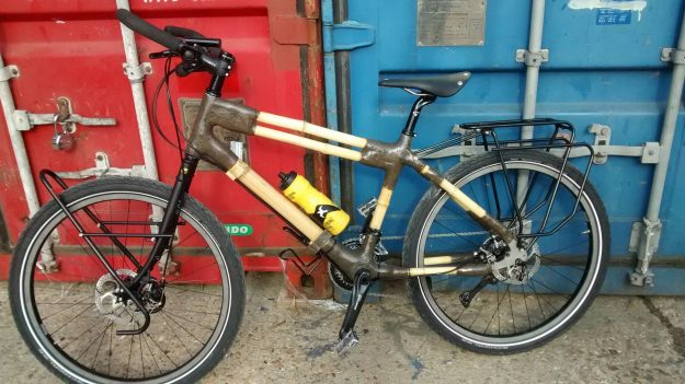 "The bamboo bike is called, ""Woody"" and was made from bamboo grown in Cornwall."