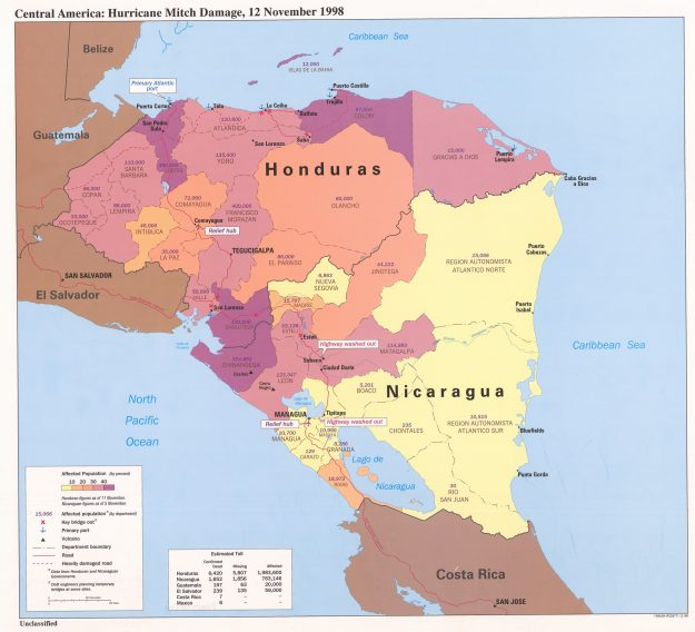 This 1998 map shows the damage Hurricane Mitch had on Central America.