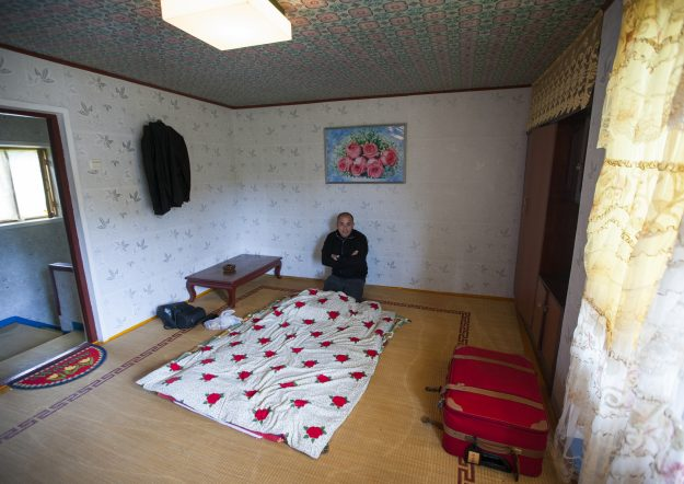 Eric's room at the North Korean Airbnb.