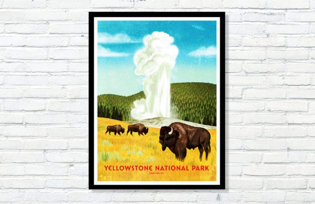 Yellowstone National Park Brave the Woods Wall screen print