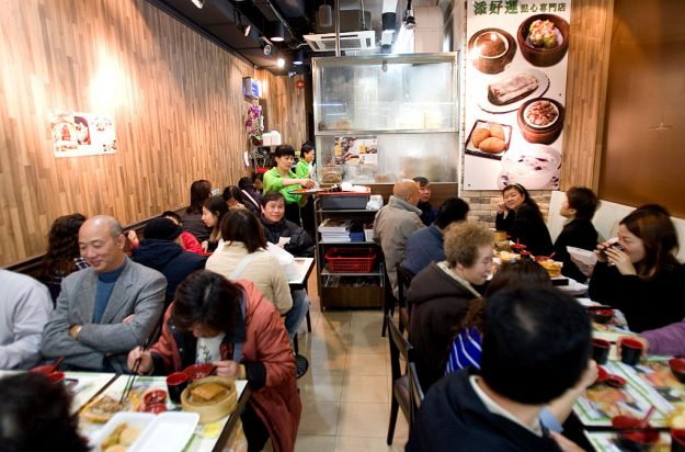 Crowds eat at Tim Ho Wan in Hong Kong, the restaurant is the world's cheapest Michelin star restaurant.