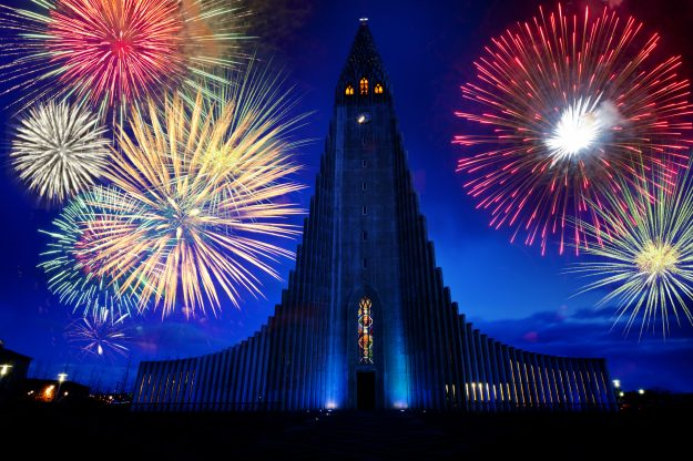 Fireworks over a monument in Reykjavik, Iceland. Image: Pete Saloutos