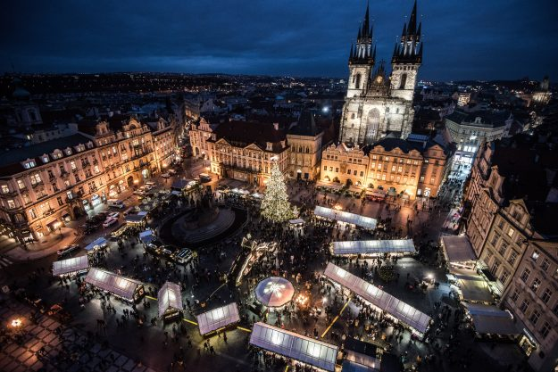 Old Town Square at the Christmas market in Prague, Czech Republic.