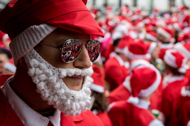 Crowds gathered for SantaCon 2016 in London.