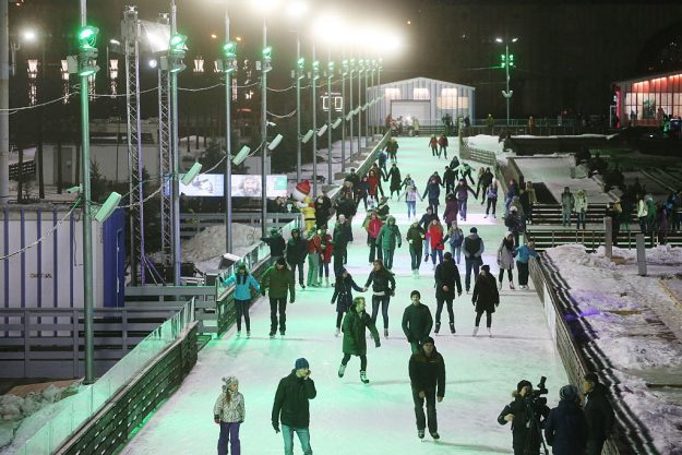 Outdoor ice skating rink at the VDNKh Exhibition Center.