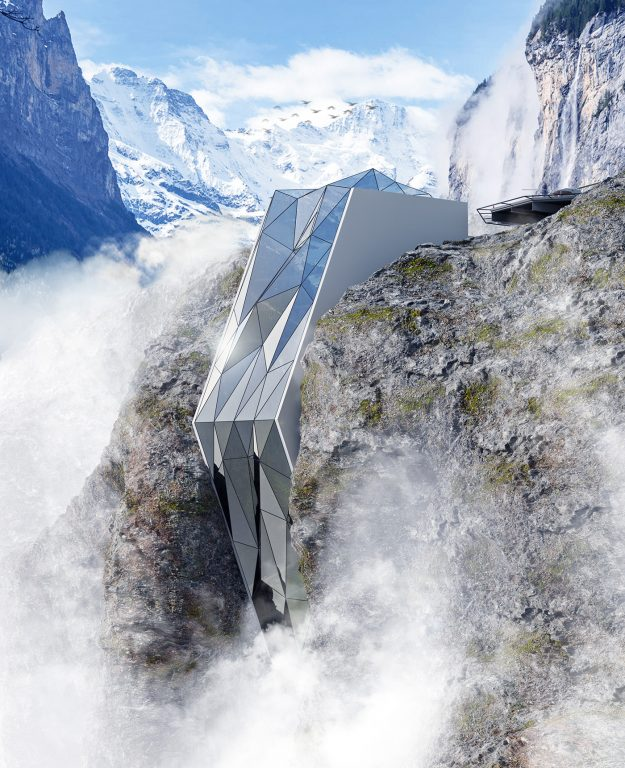 Would you stay at this dramatic glass hotel perched in a crack on the edge of an Alpine?