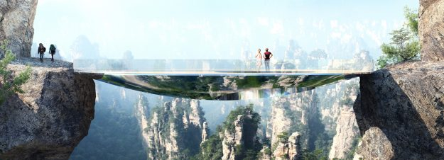 "A glass-bottomed bridge that will look ""invisible"" is being built in Hunan Province, China. Image: Martin Duplantier Architects"