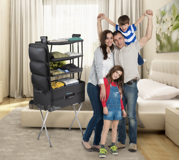 The ShelfPack's design enables four shelf departments to fold out and lock into place.