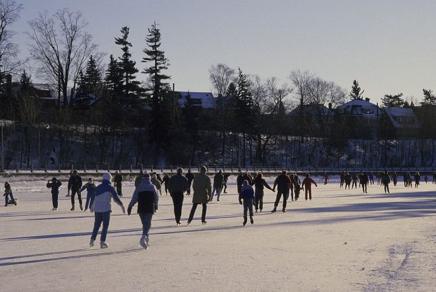 People Ice Skating On Rideau Canal.