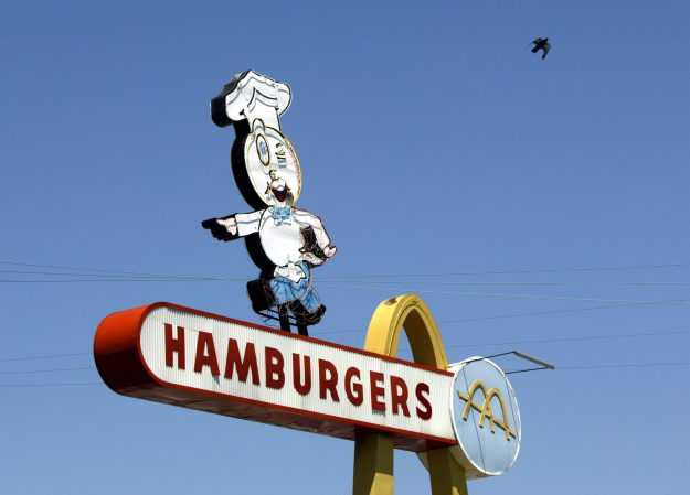 A vintage 60-foot-tall neon sign at the world's oldest-operating McDonald's fast food restaurant in Downey, California.
