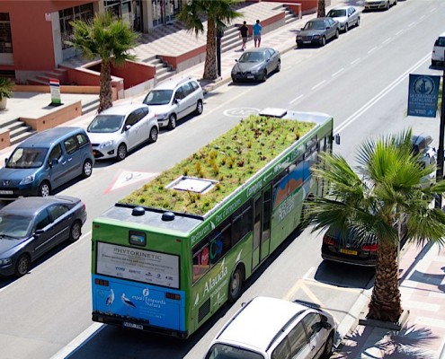 Madrid may be getting rooftop gardens on buses. Image: Phytokinetic