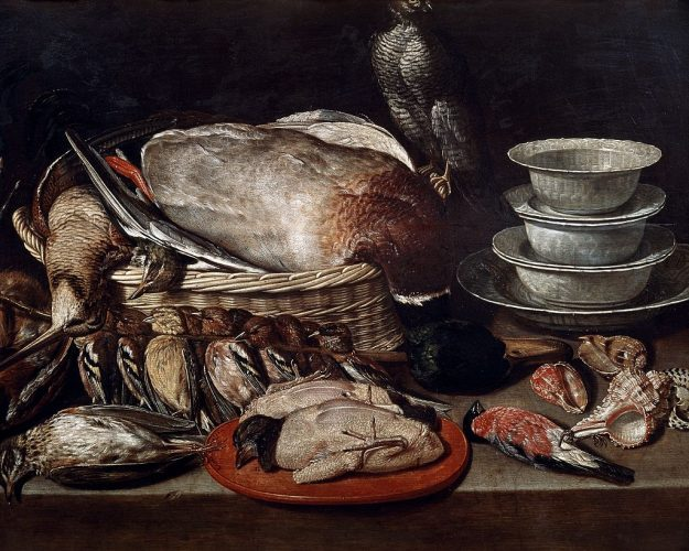 Still life showing birds, shells and pottery, by Clara Peeters (ca 1594-before 1657).