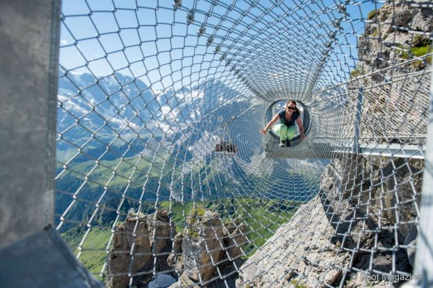 The Thrill Walk is a dramatic bridge at the Schilthorn summit in the Bernese Oberland in Switzerland. Image: Schilhtorn