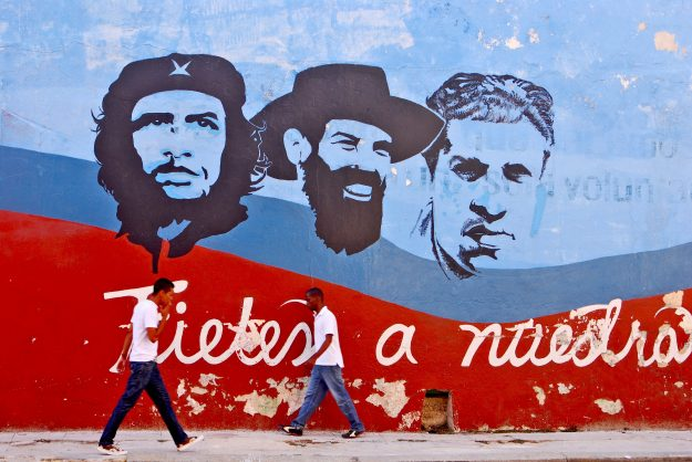 Graffiti and wall paintings representing the Cuban national heroes in Havana. Image: The Visual Explorer/Shutterstock