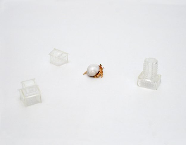 The artist scanned the shells of hermit crabs to create structures that would suit their physicality.