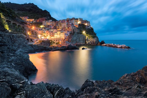 A photograph the couple took at twilight in the town of Manarola in Cinque Terre.