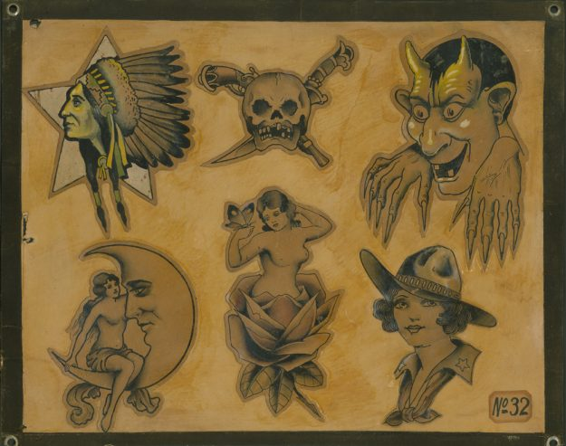 A flash sheet from legendary tattoo artist Bob Wicks is in the exhibition