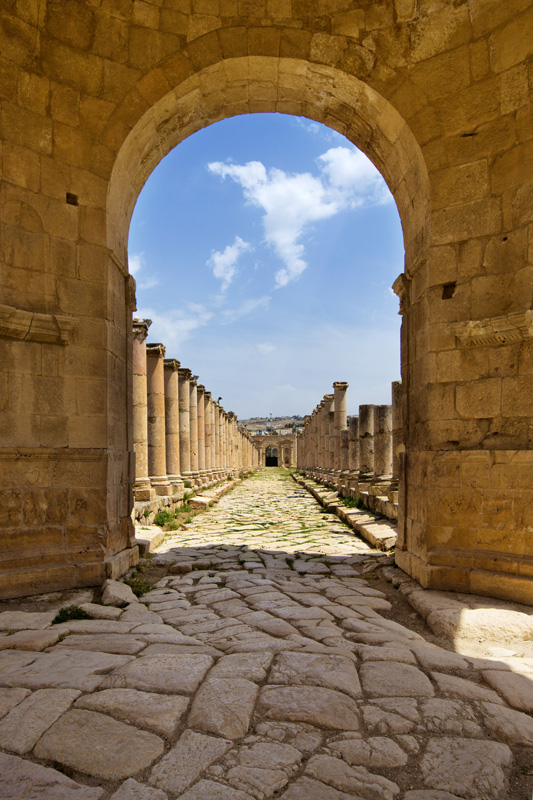 The Colonaded street in Jarash, a Roman metropolis that thrived for centuries.
