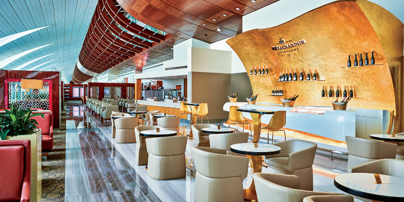 Customers can visit a Moët & Chandon champagne lounge created exclusively for the Emirates Business Lounge.