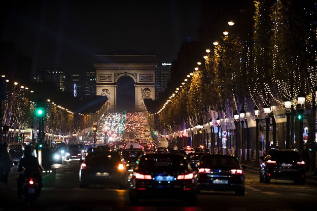 Traffic on the Champs Elysee, Paris.
