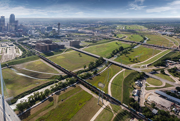 Aerial view of the site for Dallas's new 10,000 acre park.