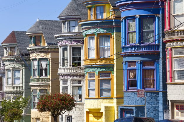 Colourfully painted Victorian houses in the Haight-Ashbury district of San Francisco, California, Image: Gavin Hellier