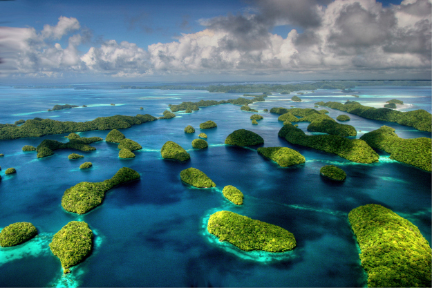 Rock Islands, Republic of Palau, seen from the air.