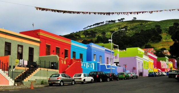 Colourful buildings in the Malay Quarter of Cape Town Central. Image: Daniela White Images
