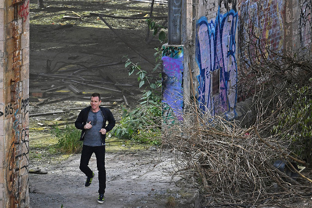 Actors Ewan McGregor, on the set of the Trainspotting film sequel in a disused warehouse in Leith on July 14, 2016 in Edinburgh, Scotland. The long awaited Trainspotting 2 is being filmed in Edinburgh and Glasgow, 20 years after the original was released it will also see the cast from the first film returning including Ewan McGregor, Jonny Lee Miller and Robert Carlyle.