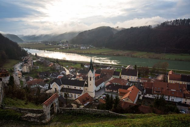 Sevnica's old town by the Sava River - ground zero for Melania Tourism.